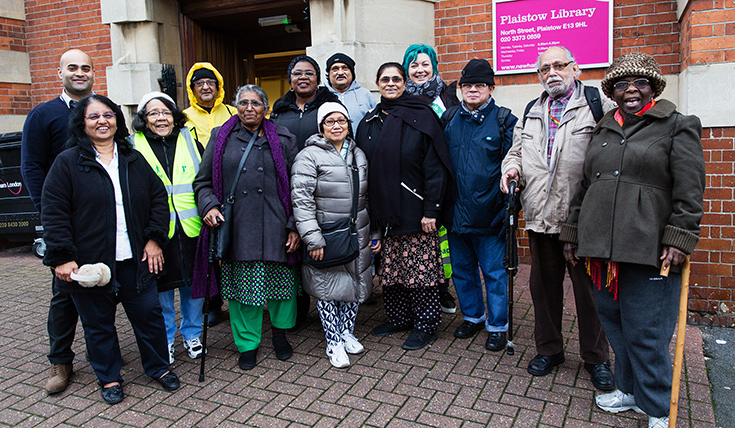 A group of people outside Plaistow Library