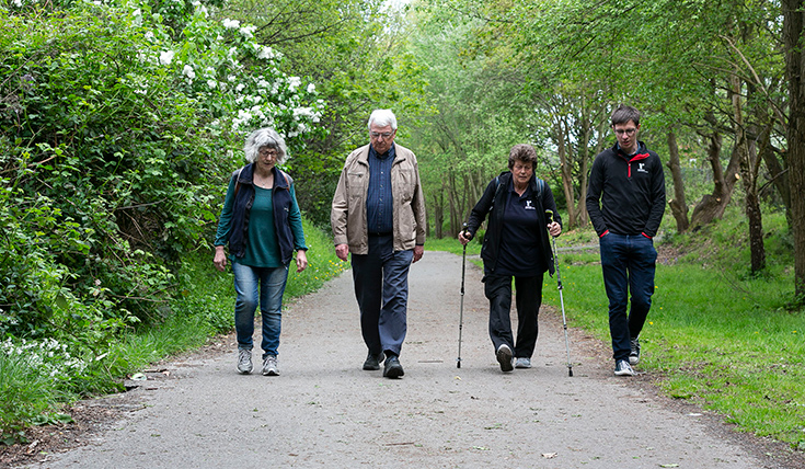 Four people walking and talking, on a park path