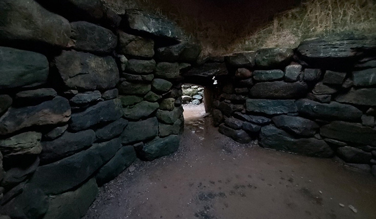 A view underground, in a stone walled shelter