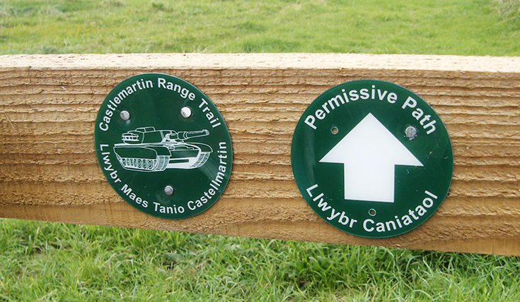 Waymarkers for the Castlemartin Range Trail and Permissive Path