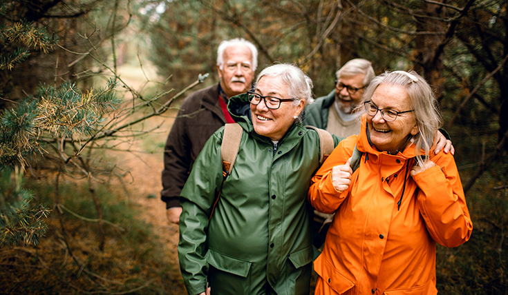Four older people together, walking outdoors in winter, passing branches and laughing