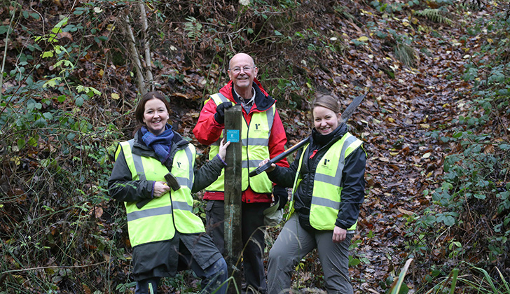 Van and two path maintenance volunteers