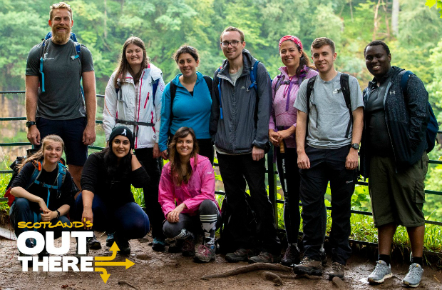 Out There group at the Falls of Clyre