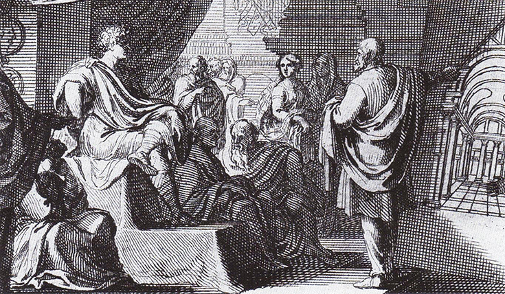 Etching of a man addressing a room of people