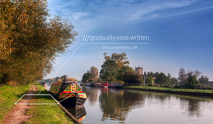 Canalside, with the words: gradually, vase, written
