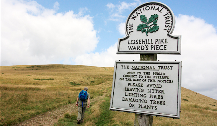 "Losehill Pike ""Ward's Piece"" sign"