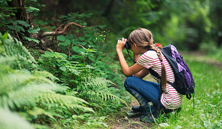 A child crouched down, taking a photo of plants