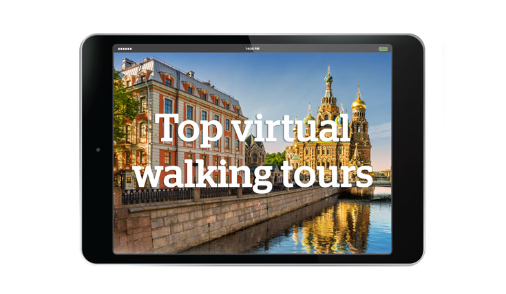 "Tablet showing a landscape and text ""Top virtual walking tours"""