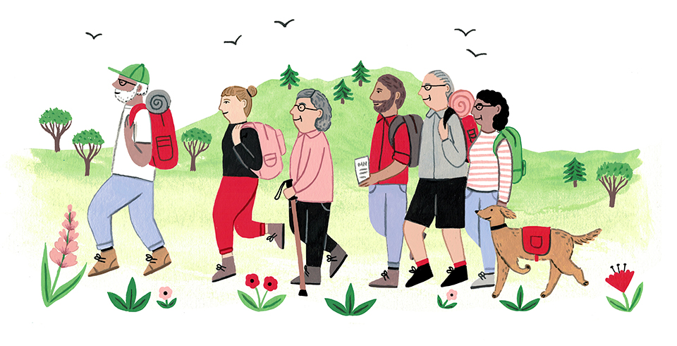 Illustration of a group of people walking outdoors