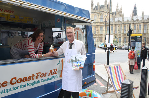 Ramblers ice cream bus outside Westminster