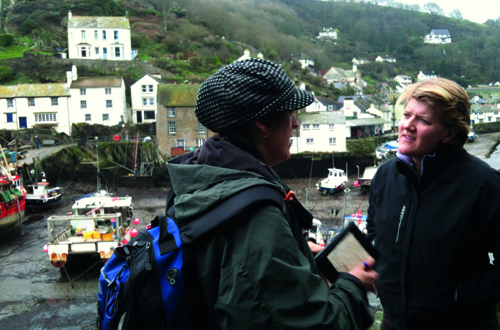 Clare Balding with Anna Maria Murphy in Polperro notebook in hand