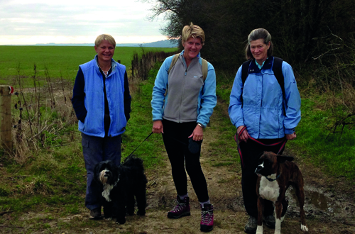 Clare Balding with her mum and partner Alice and dogs