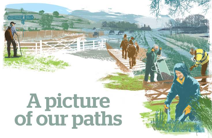 Illustration of path maintenance workers, with title A picture of our paths