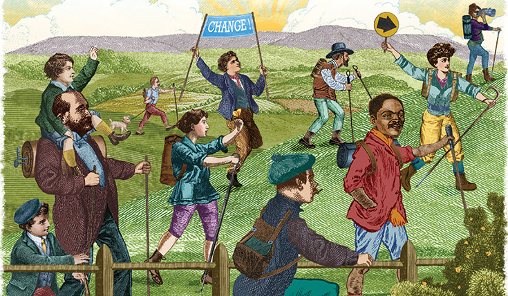 Illustration of people enjoying access to lands, past a fence