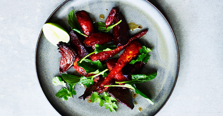 Roasted vegetables with miso sauce