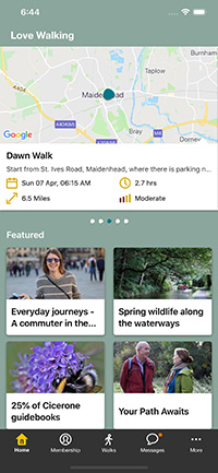 Screenshot of the home screen on the app, with a map and listings of topics