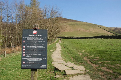 Kinder Scout - access land sign
