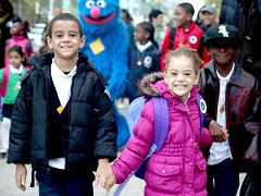 International Walk to School Month in Harlem, New York