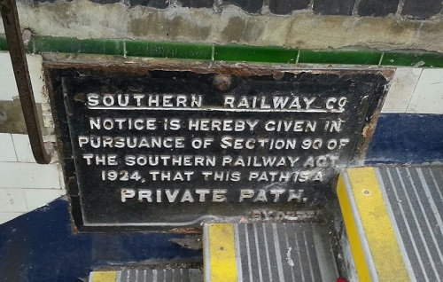 A Southern Railways stating that the path is private