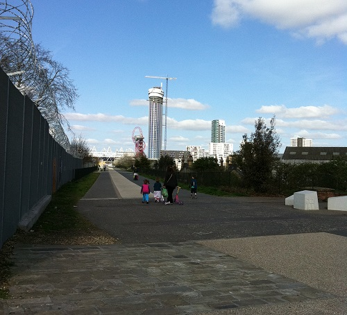 Young family walking in East London
