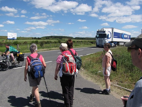 Wigtownshire Ramblers trying to cross the busy A75 trunk road near Challoch