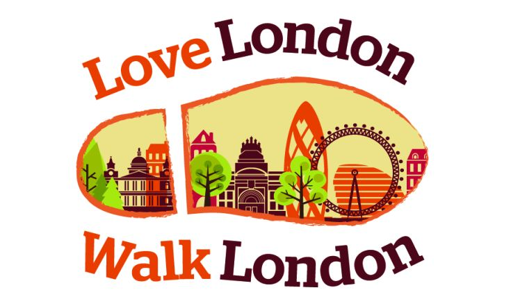 Love London Walk London. Boot print with image of London inside
