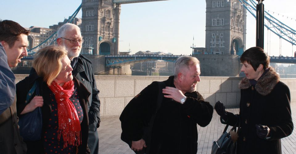 Des Garrahan and Caroline Pidgeon in front of Tower Bridge