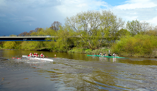 Two teams of rowers on a still river, passing a bridge