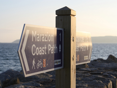 Coast path sign Cornwall
