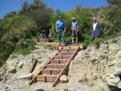 The Isle of Wight Ramblers installing a stairway at Binnel Bay