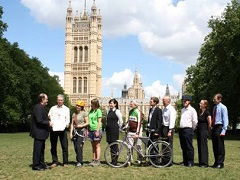 Ramblers staff and stakeholders at Victoria Tower Gardens, by Westminster