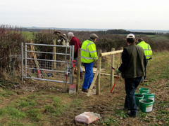 South Wiltshire Ramblers installing a gate