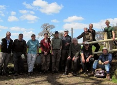 South Wiltshire Ramblers and other volunteers on the cleared path in Sedgehill