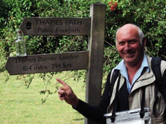 Thames Path signpost pictured during the Thames river relay