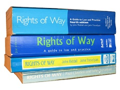 A pile of various copies of the 'Blue Book', aka 'Rights of Way: a guide to law and practice'
