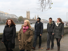 Walking group by Thames