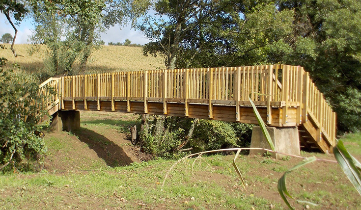 A new wooden bridge spanning a narrow river