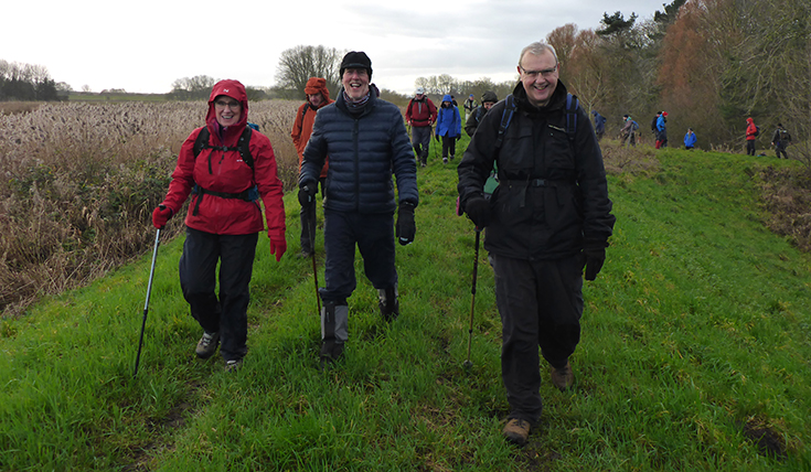 Three people, leading a group of walkers on a grass strip between hedges