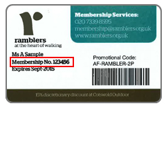 Membership card with membership number highlighted