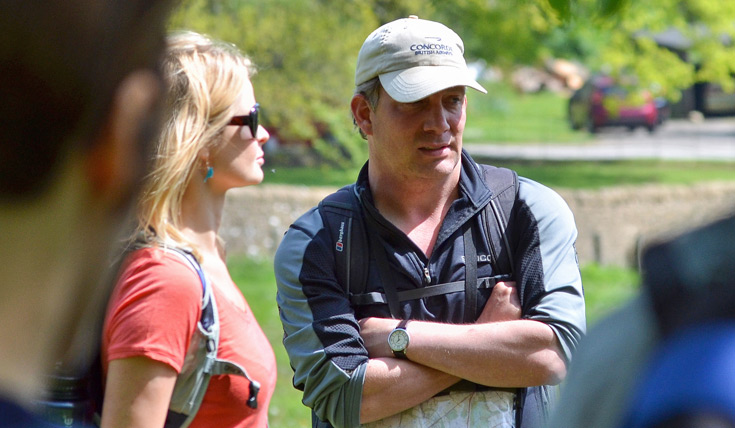 A man and woman on a walk