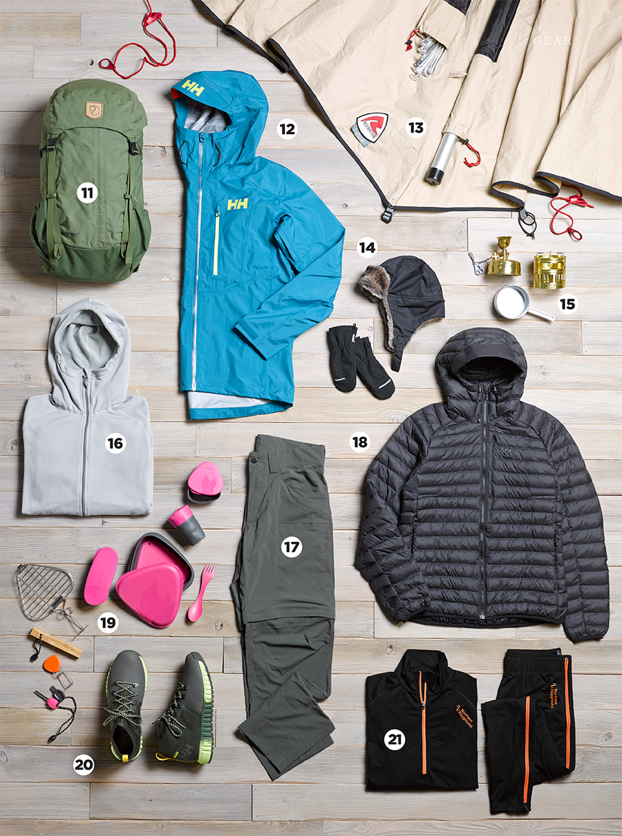 Selection of clothing items, laid out with numbers