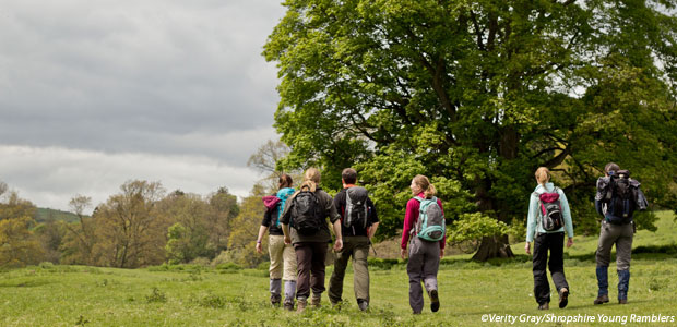 Group in walking gear