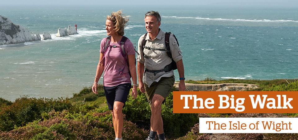 Two people walking along a cliff top path - Text: The Big Walk, Isle of Wight