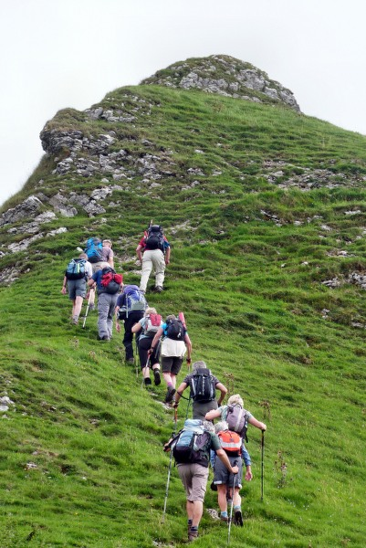 Chain of ramblers up Chrome Hill